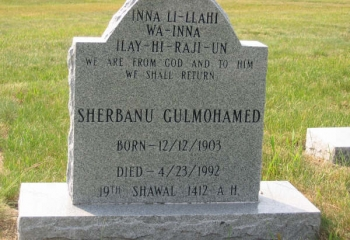 SHERBANU GULMOHAMED (12/12/1903-04/23/1992)